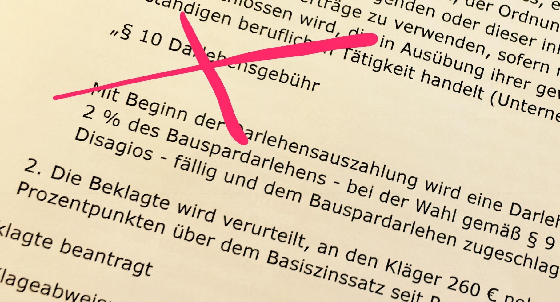 BGH kippt Darlehensgebühr bei Bausparverträgen  (Urteil v. 08.11.2016 – XI ZR 552/15)
